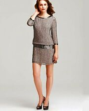NWT ADRIANNA PAPELL 100%Silk Gatsby Beaded Embellished Gray Open Back Dress $280