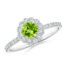 Vintage Style Peridot Flower Ring with Diamond Accents 14K White Gold Size 3-13