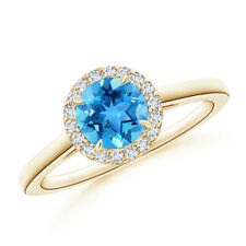 Cathedral Round Swiss Blue Topaz and Diamond Halo Ring 14K Yellow Gold Size 3-13