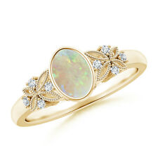 Bezel Set Vintage Style Oval Opal Diamond Engagement Ring 14K Yellow Gold