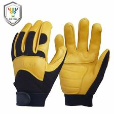 New Deerskin Men's Work Driver Gloves Leather Security Protection Wear Safety Wo