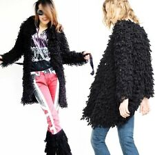 Boho Fringe Shaggy long jacket womens Cardigans Knitted Coat Tassle Sweater Cape