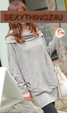 LIGHT GREY Long Sleeved Mini Dress - Long Top - Choose Size 8 - 10 or 12