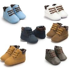 Toddler Baby Hight Cute Soft Sole Leather Material Shoes Girls Boys Crib Style