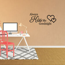 Wall Decal Quote Always Kiss Me Goodnight Art Vinyl Sticker Home Decor (XP4)