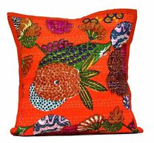 A Indian Throw Pillow Kantha AUS Floral Work Stitch Cotton Cushion Cover