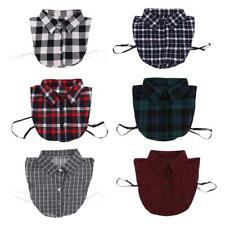Girls Cotton Necklace Women Peter Pan Detachable Shirt Fake Collar Plaid
