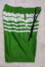 Mens Swimming Trunks Board Shorts Green White Striped Small, Medium, Large