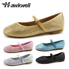 Hawkwell Mary Jane Shoes Girl Ballerina Shoes Flats Dress Up Shining Black White