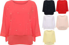 Plus Womens Pearl Accent Chiffon Lined Batwing Sleeve Party Top Ladies Sheer
