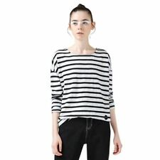 Women Spring Stripe Printed Loose Casual Long Sleeve O-neck Blouse