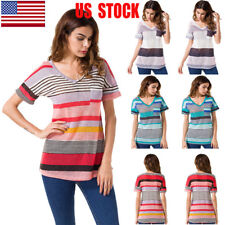 US Womens Casual T-shirt V-neck Tops Short Sleeve Strips Print Blouse Plus Size