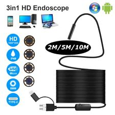 2-10M 3 in 1 Rigid Endoscope USB C Micro USB Inspection Camera 8LED for Android