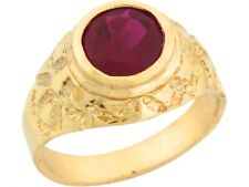 10k or 14k Yellow Gold Ruby Red CZ Round Solitaire Nugget Childrens Ring