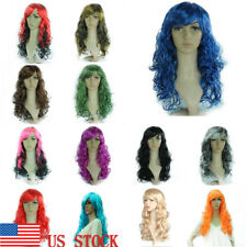 Women's Long Chic Curly Wave Wig Ombre Synthetic Cosplay Party Costume Full Wig