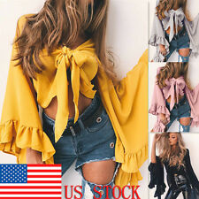 Women's Sexy Spring Flare Long Sleeve Tie Front Cardigan Chiffon Crop Top Blouse