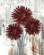 Rustic Red Brown Floral Home Decor Farmhouse Wall Art Matted Picture