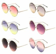 New Fashion Trendy Oversize Round Circle Sunglasses with Oceanic Color Lens
