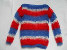 PUNK STYLE LOOSE KNIT MOHAIR JUMPER - RED, WHITE AND BLUE STRIPES