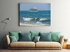 Framed Canvas Stretched Print Waves Sea Seascape Boat Scenery