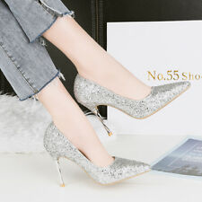 Fashion Bling PU High Heels Stilettos Point Toe Shallow Ladies Sexy Pumps Shoes