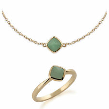 9ct Yellow Gold Cushion Green 7mm Jade Bracelet and Ring Set