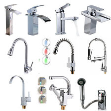 Pull Out Tap Spray Spout Swivel LED Waterfall Kitchen Faucet Bathroom Chrome New