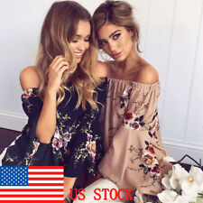 Women's Off Shoulder Bell Sleeve Blouse Sexy Floral Print Flowy Hem Crop Tops US