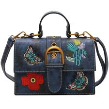 Women Flower Handbag Vintage Embroidery Shoulder Bag Lady Purple Crossbody Bag