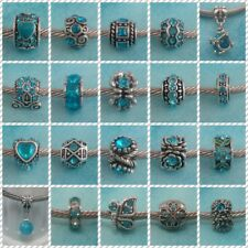 ~ Antique Silver Turquoise Rhinestone Charms ~ FOR CHARM BRACELETS ~ Gift Bag ~
