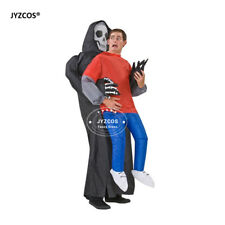 Halloween Scary Costumes Adult Skeleton Dress Inflatable Blow Up Suit Carnival