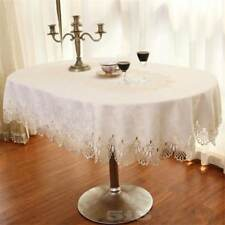 Rectangle Round Shape Lace Draped Simple Tablecloth White Beige Color