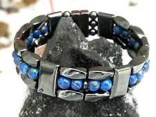 Mens Womans 100% Magnetic Hematite Bracelet Anklet Necklace Picasso Blue 3 row