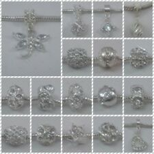 ~ Silver Style Clear Rhinestone Charms ~ FOR CHARM BRACELETS ~ Organza Gift Bag~