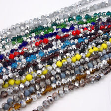 Half silver Color 200pcs Faceted Rondelle Crystal Glass Loose Spacer Beads 4mm
