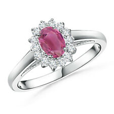 Princess Diana Inspired Pink Tourmaline Ring with Diamond Halo 14K White Gold