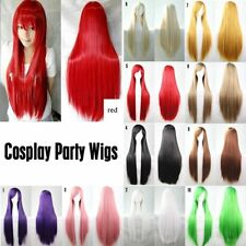 80CM Fashion Full Wig Long Straight Wig Cosplay Party Costume Anime Wigs