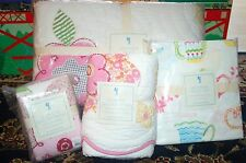 6P Pottery Barn Kids JULIANNE TEA POT QUILT + SHAM SHEET SET GIRL TWIN TEA PARTY