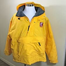 Gear Running Rain Men's Fleece Lined Yellow Jacket Hoodie Sz L Cold Wind Sports