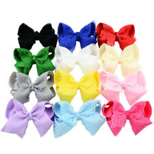 Baby Girls Lace Grosgrain Bow Hair Clip Pin Aligator Clips Flower Hair LJ