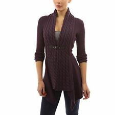 Women Autumn Winter Front Buckle Braid Slim Fit Long Sleeve Sweater Cardigan