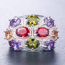 Gorgeous Multi-color Gemstone Women 925 Silver Jewelry Wedding Ring Size 6-10