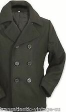 VINTAGE US NAVY PEA COAT MENS CLASSIC ARMY REEFER JACKET MILITARY BLACK XXS-3XL