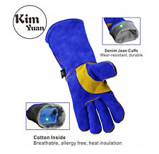 KIM YUAN Leather Welding Gloves-Heat/Fire Resistant Oven/Fireplace/BBQ14/16Inchs