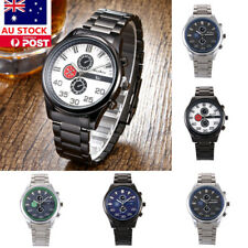 Mens Military Watch Stainless Steel Analog Quartz Business Casual Wristwatch