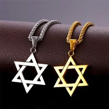 Star of David Pendant & Necklace Chain Israel Jewish Gold Plated Magen David