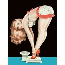 Pin Up Pinup Girl Vintage Repro Poster Blonde Polka Dots on Scale Bending Over