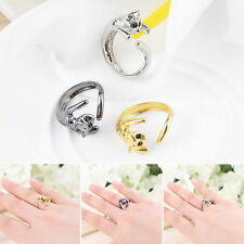 Fashion Jewelry Womens Cool Silver Plated Kitten Cat Ring With Crystal Eyes EC