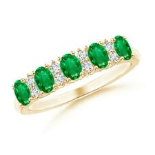 Five Stone Emerald Diamond Womens Wedding Band 14K Solid Gold Ring Size 3-13