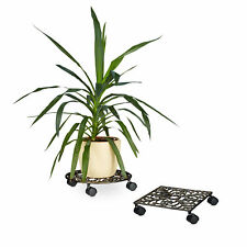 Plant Caddy Cast Iron Plant Pot Mover w/ Wheels Pot Holder Trolley Dolly Mover